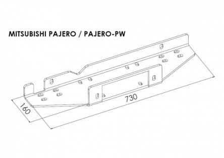 Hidden winch mounting plate - Mitsubishi Pajero (2007 - 2015 -)